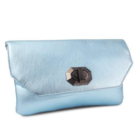 Miadora 'Naomi' Metallic Ice Blue Clutch