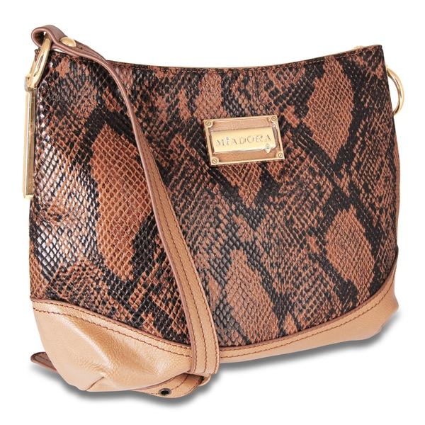Miadora 'Bayla' Zip Top Camel-colored Snake Shoulder Bag