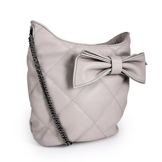 Miadora 'Brenda' Gray Quilted Bow Shoulder Bag