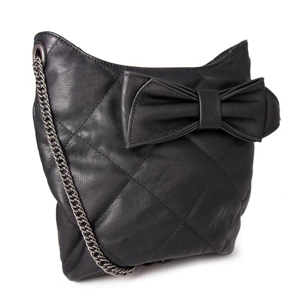 M by Miadora 'Brenda' Black Quilted Bow Shoulder Bag