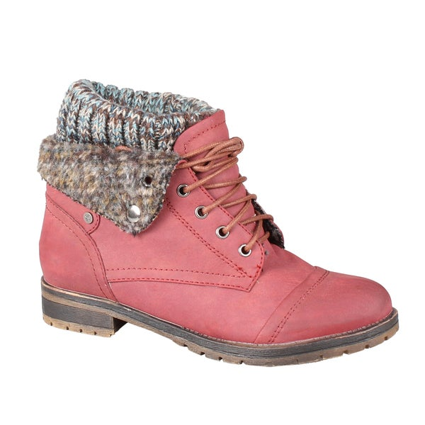 Refresh by Beston Women's 'Wynne-01' Wine Faux-Leather Lace-Up Combat Boots