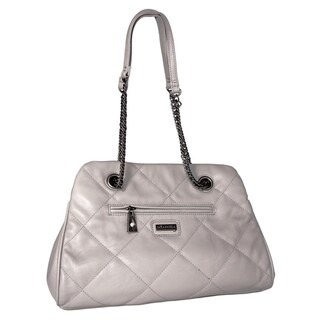 Miadora 'Kimberly' Gray Quilted Shoulder Bag