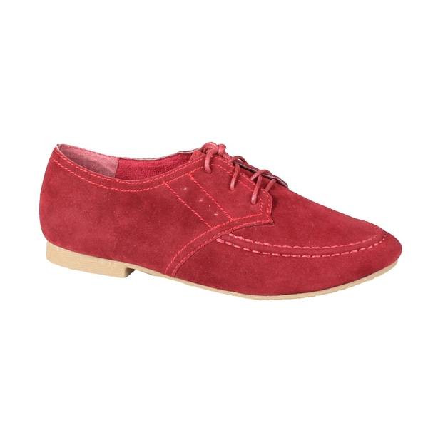 Refresh by Beston Women's 'Tessa-02' Faux-Suede Lace-Up Oxfords