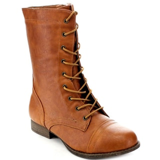 Refresh by Beston Women's Cognac 'Libby-01' Lace-Up Combat Boots