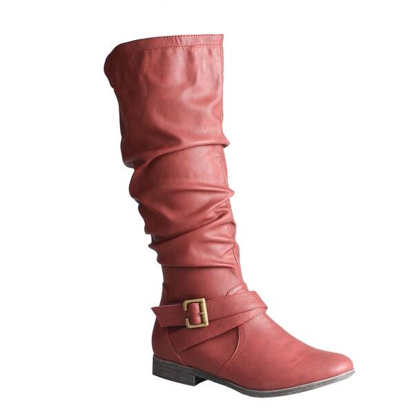 Refresh by Beston Women's 'Geneva' Wine Knee-High Boots