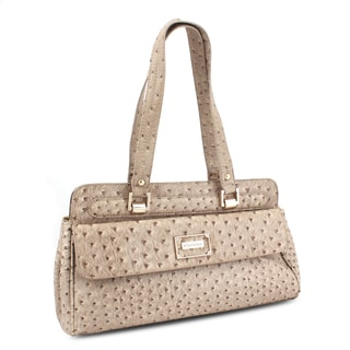 Miadora 'Inna' Brown Ostrich-embossed Satchel