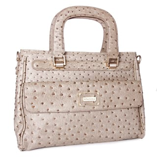 Miadora 'Corinne' Beige Ostrich-embossed Satchel|https://ak1.ostkcdn.com/images/products/7218125/7218125/Miadora-Corinne-Beige-Ostrich-embossed-Satchel-P14701761.jpg?impolicy=medium