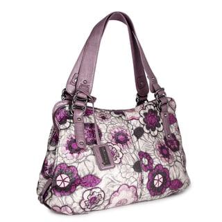 Miadora 'Alli' Beige/ Purple Floral Satchel