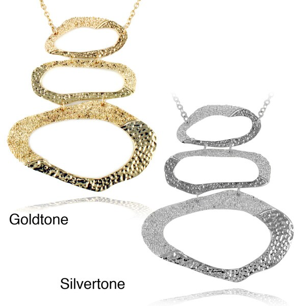 Textured and Hammered Triple Oval Ring Rolo Chain Necklace