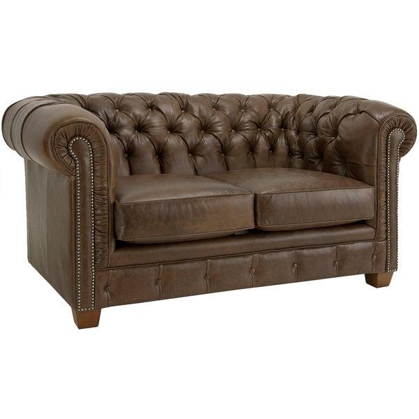 Hancock Tufted Distressed Brown Italian Leather Loveseat