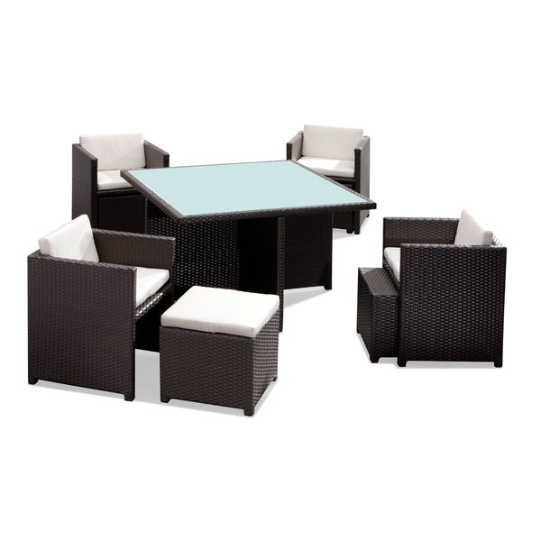 Naples synthetic weave espresso outdoor table set free for Table 52 naples