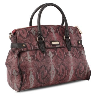 M by Miadora 'Rebecca' Burgundy Python Embossed Satchel