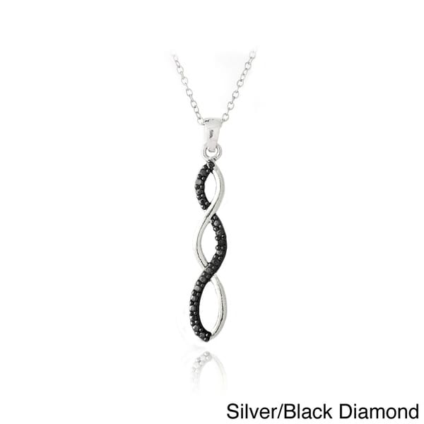 DB Designs 18K Gold Plated or Silver Black or White Diamond Accent Infinity Necklace