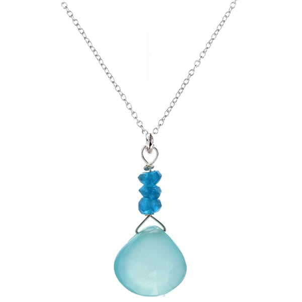 Ashanti Sterling Silver Chalcedony Briolette and Blue Apatite Pendant Necklace (Sri Lanka)