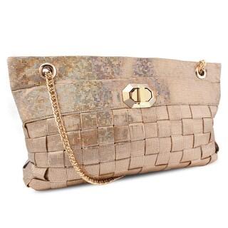 Miadora 'Lucille' Gold Woven Shoulder Bag