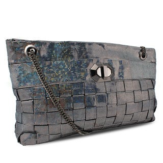 Miadora 'Lucille' Metallic Black Woven Shoulder Bag