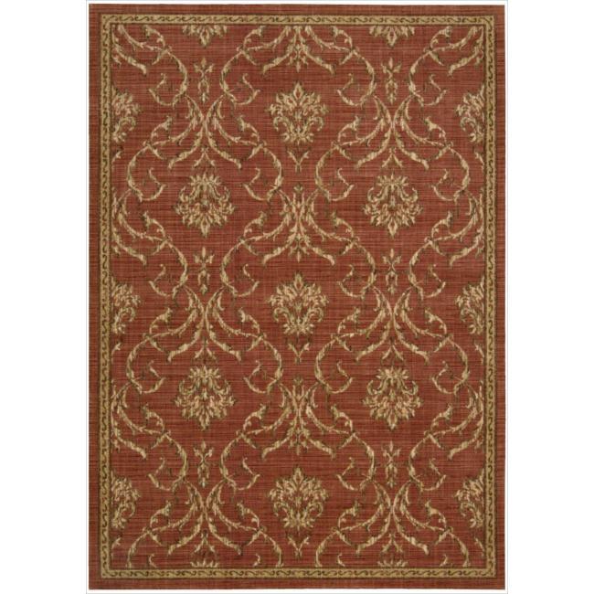 Nourison Liz Claiborne Radiant Impression Damask Crimson Rug  (5'6 x 7'5)
