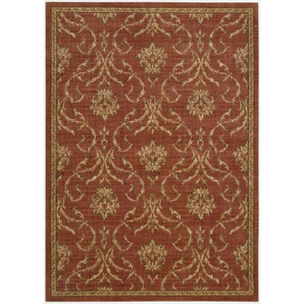 Nourison Liz Claiborne Radiant Impression Damask Crimson Rug - 5'6 x 7'5