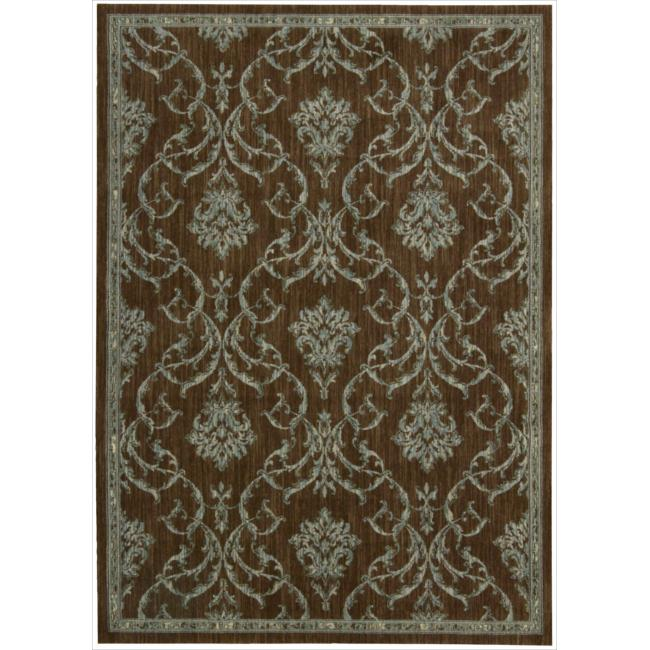 Nourison Liz Claiborne Radiant Impression Damask Teal/Chocolate Rug  (5'6 x 7'5)