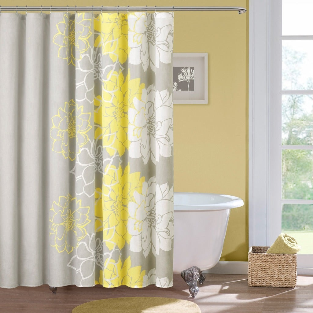 Madison Park Brianna Cotton Sateen Floral Printed Shower Curtain