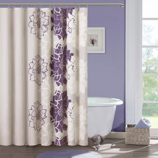 Clay Alder Home Niantic Cotton Sateen Floral Printed Shower Curtain (Option: Purple)