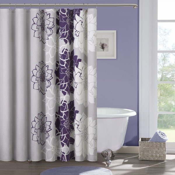 Madison Park Bridgette Cotton Sateen Floral Printed Shower Curtain