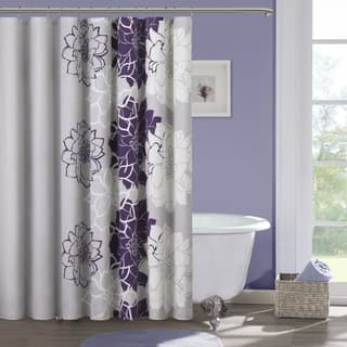 purple and gray shower curtain. Madison Park Bridgette Sateen Printed Shower Curtain Purple Curtains For Less  Overstock com Vibrant Fabric