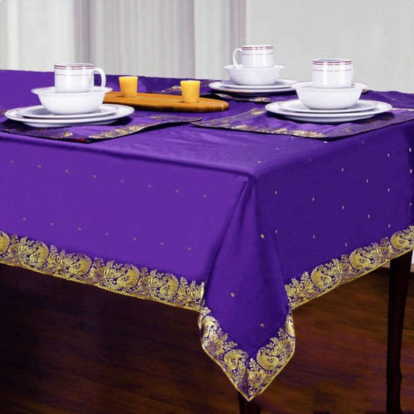 Handmade Purple Sari Table Cloth (India)