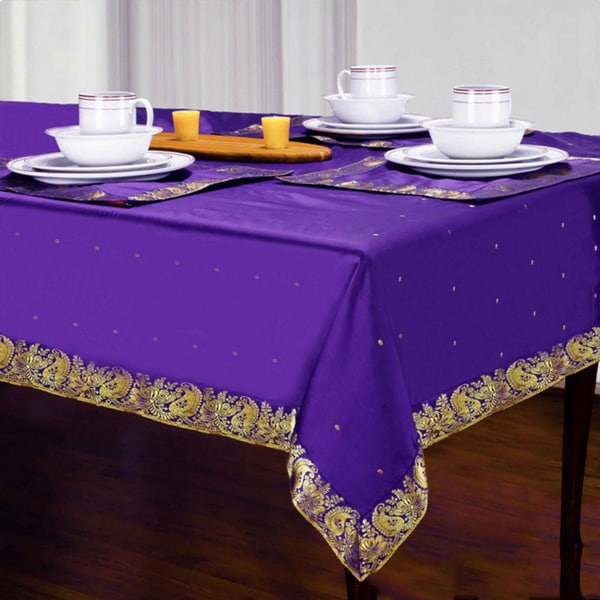 Handmade Purple Sari Table Cloth India Free Shipping