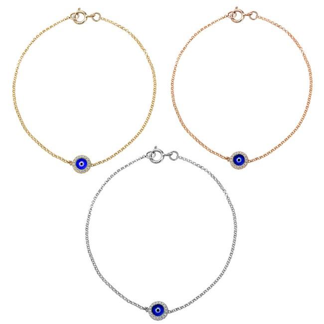 Victoria Kay 14k Gold Diamond Accent and Enamel Evil Eye Bracelet