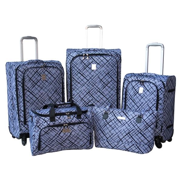 Jenni Chan Blue Brush Strokes 5-piece Fashion Spinner Luggage Set