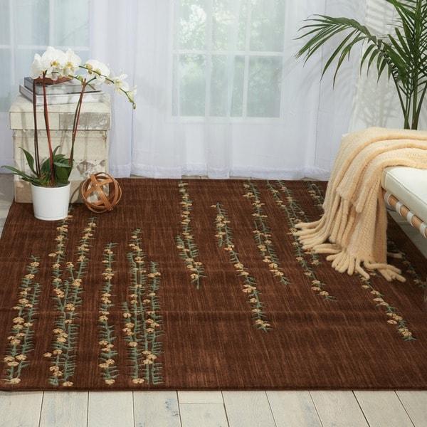Nourison Liz Claiborne Radiant Impression Delicate Floral Chocolate Rug (5'6 x 7'5) - 5'6 x 7'5