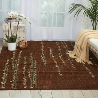 Nourison Liz Claiborne Radiant Impression Delicate Floral Chocolate Rug  (5'6 x 7'5)