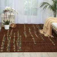Nourison Liz Claiborne Radiant Impression Delicate Floral Chocolate Rug - 5'6 x 7'5