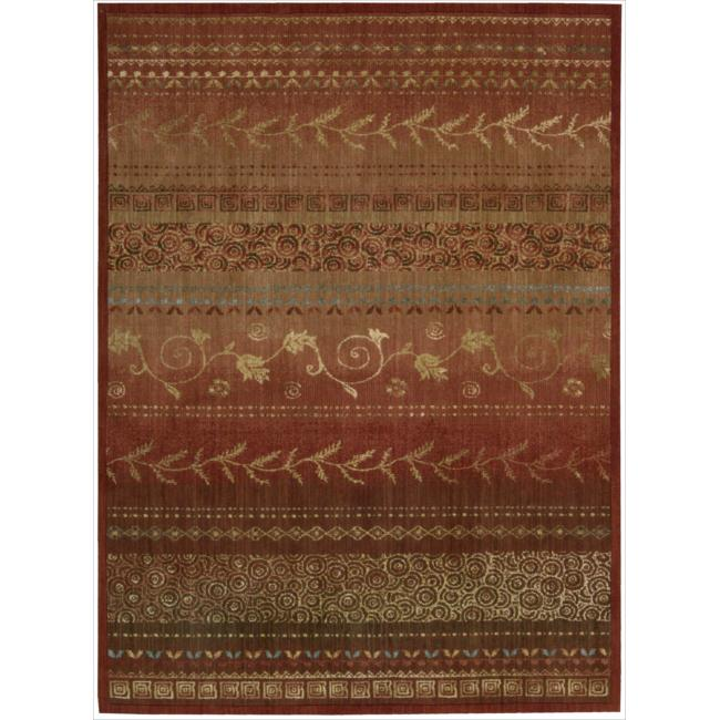 Nourison Liz Claiborne Radiant Impression Assorted Pattern Crimson Red Rug (5'6 x 7'5)