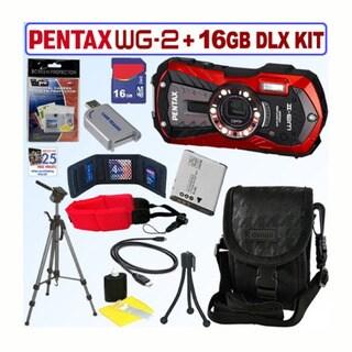 Pentax Optio WG-2 16MP Waterproof Red Digital Camera / D-LI92 Battery / 16GB Accessory Kit