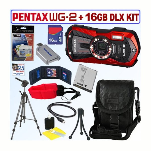 Pentax Optio WG-2 16MP Waterproof Red Digital Camera / D-LI92 Battery / 16GB Accessory Kit