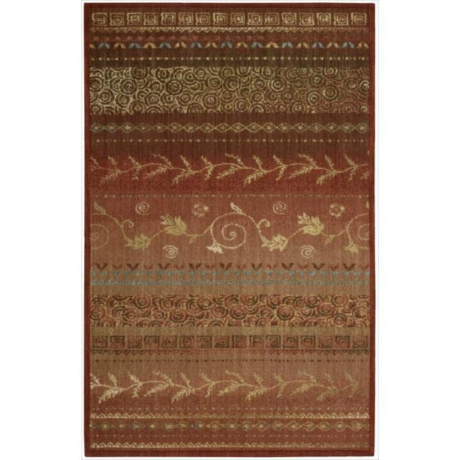 Nourison Liz Claiborne Radiant Impression Assorted Pattern Crimson Red Rug (3'6 x 5'6)