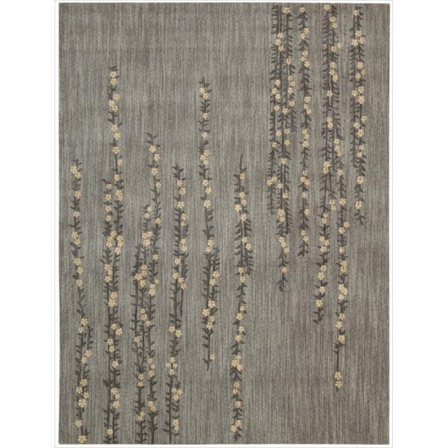 Nourison Liz Claiborne Radiant Impression Delicate Floral Light Grey Rug (3'6 x 5'6)