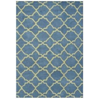 Alliyah Handmade Aqua New Zealand Blend Wool Rug (8' x 10')