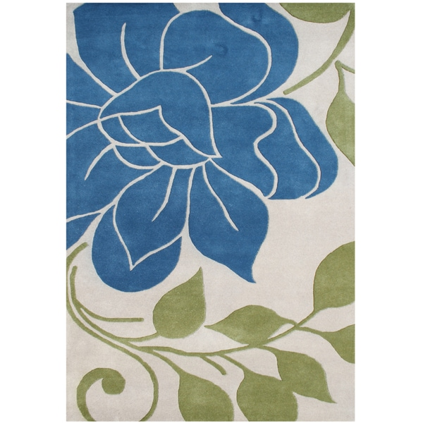 Alliyah Hand Made Tufted Green Oasis New Zealand Blend Wool Rug (5' x 8')