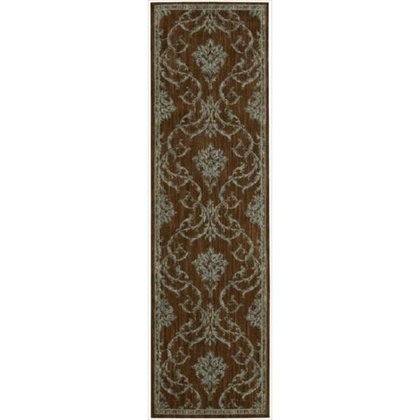 Nourison Liz Claiborne Radiant Impression Damask Teal/Brown Rug  (2'3 x 8')