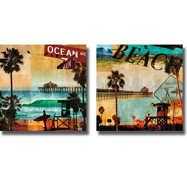 Charlie Carter 'Ocean Avenue and Beach Culture' 2-piece Canvas Art Set