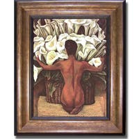 Diego Rivera 'Nude with Calla Lilies' Framed Canvas - Multi
