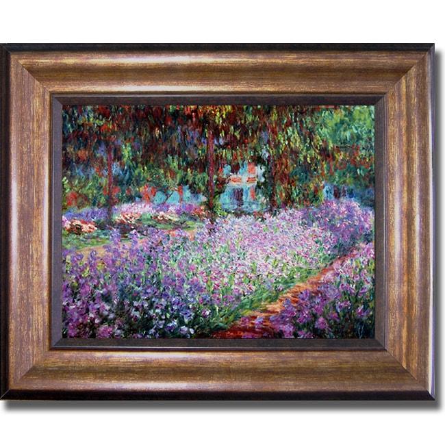 Claude Monet 'Artists Garden at Giverny' Framed Canvas Art