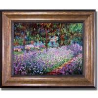 Claude Monet 'Artists Garden at Giverny' Framed Canvas Art - Multi