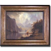 Albert Bierstadt 'In the Mountains' Framed Canvas Art - Multi