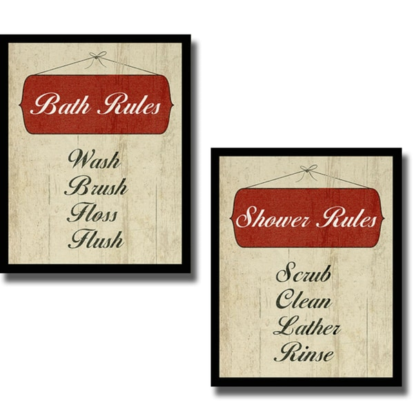 sdgraphics 'Bath Rules and Shower Rules' 2-piece Canvas Art Set