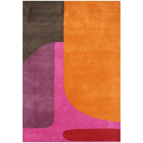Alliyah Handmade Flame Orange New Zealand Blend Wool Rug (5' x 8')