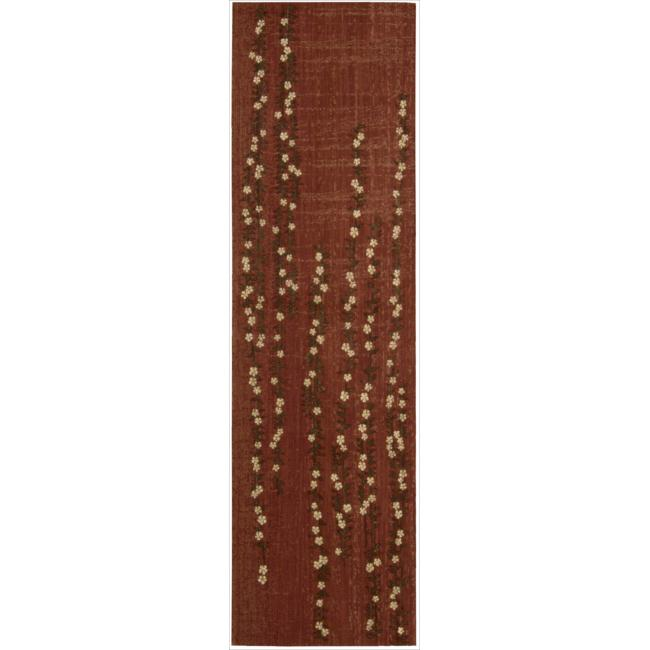 Nourison Liz Claiborne Radiant Impression Delicate Floral Crimson Rug (2'3 x 8')